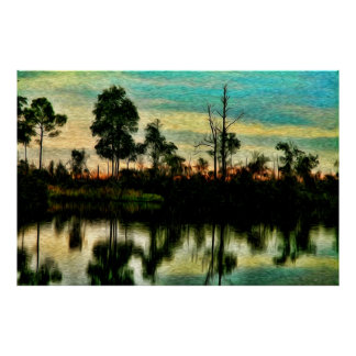 Sunset on the Okefenokee Swamp Posters