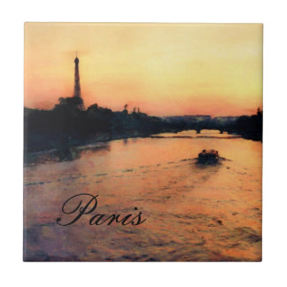 Sunset on the Seine in Paris, France Tile