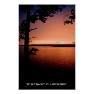Sunset on the shore poster