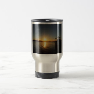 Sunset on the water 15 oz stainless steel travel mug