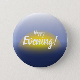 Sunset on the water print with blues & yellow. 6 cm round badge