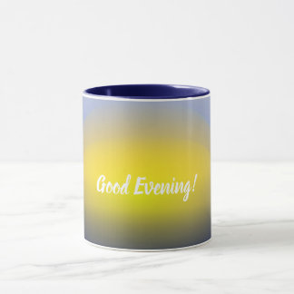 Sunset on the water print with blues & yellow. mug