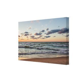 Sunset on the Waves of Lake Michigan Canvas Print