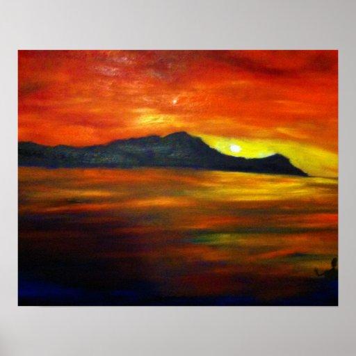 Sunset on Waikiki Beach Print