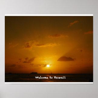 Sunset on Waikiki in Hawaii Poster