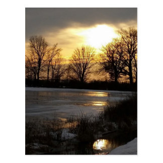 Sunset On Winter Snow Postcard