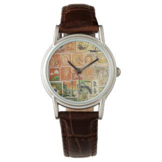Sunset Orange Green Wristwatch, Postage Stamp Art Watches