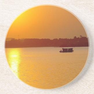 Sunset Orange Water Glow Beverage Coaster