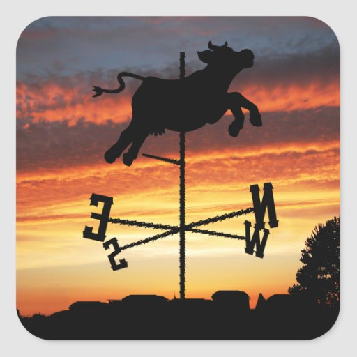 Sunset Over a Cow Weather Vane Stickers