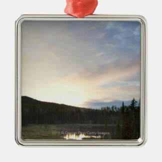 Sunset Over A Misty Pond Silver-Colored Square Decoration