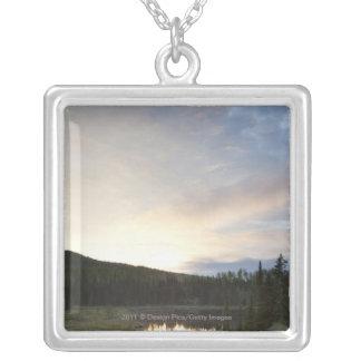 Sunset Over A Misty Pond Silver Plated Necklace