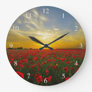 Sunset Over A Red Poppy Field Small Numbers Large Clock