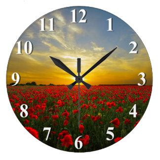 Sunset Over A Red Poppy Field Wallclock