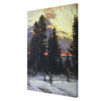 Sunset over a Winter Landscape, c.1902 Canvas Print