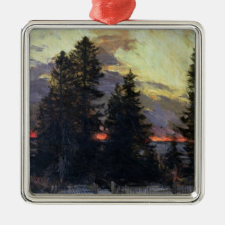 Sunset over a Winter Landscape, c.1902 Christmas Ornament