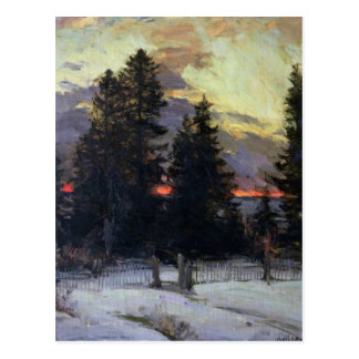 Sunset over a Winter Landscape, c.1902 Postcard