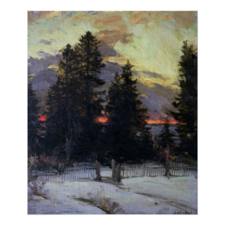 Sunset over a Winter Landscape, c.1902 Poster