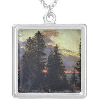 Sunset over a Winter Landscape, c.1902 Silver Plated Necklace