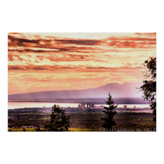 Sunset Over Anchorage Poster
