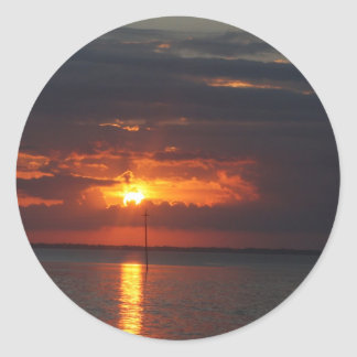 sunset over bay classic round sticker