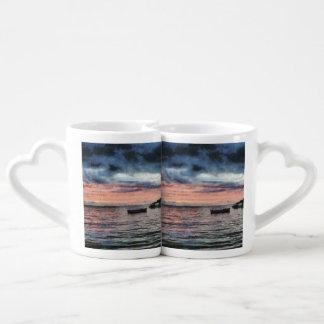 Sunset over bay lovers mug