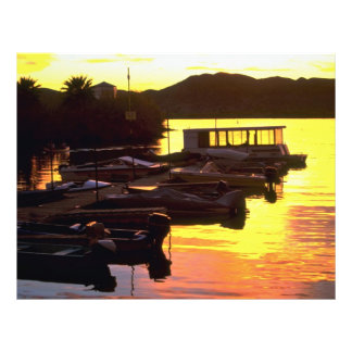 Sunset over boat dock at Fisher's Landing, lower C 21.5 Cm X 28 Cm Flyer