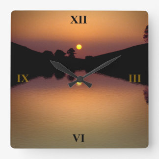 Sunset over Bruton Lake Square Wall Clock