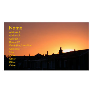 Sunset Over Buildings Business Card Template