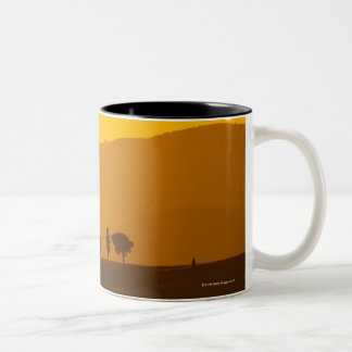 Sunset over cypress and pine trees in Val Two-Tone Coffee Mug