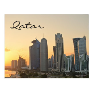 Sunset over Doha, Qatar text postcard