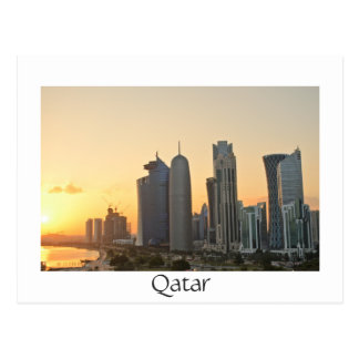 Sunset over Doha, Qatar white text postcard