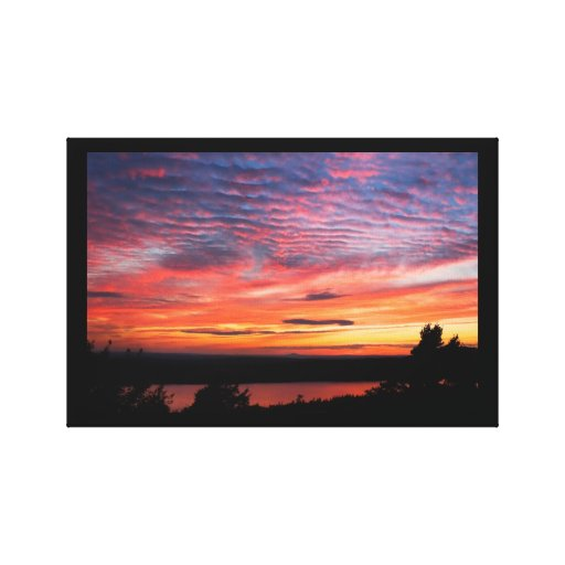 Sunset over Eagle Lake Acadia National Park Canvas Print
