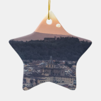 Sunset over Florence, Italy Ceramic Star Decoration