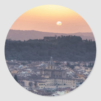 Sunset over Florence, Italy Classic Round Sticker
