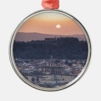 Sunset over Florence, Italy Silver-Colored Round Decoration