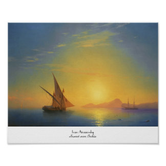 Sunset over Ischia Ivan Aivazovsky seascape waters Poster