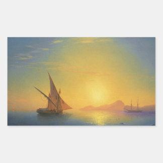 Sunset over Ischia Ivan Aivazovsky seascape waters Rectangular Sticker