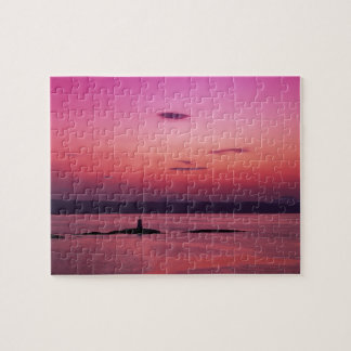 Sunset over Isle of Skye, from Mallaig, Jigsaw Puzzle