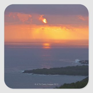 Sunset over Kealakekua Bay, South Kona Square Sticker