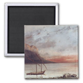 Sunset over Lake Leman, 1874 Square Magnet