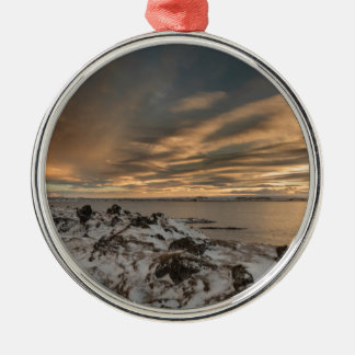 Sunset over lake Myvatn, Iceland Silver-Colored Round Decoration