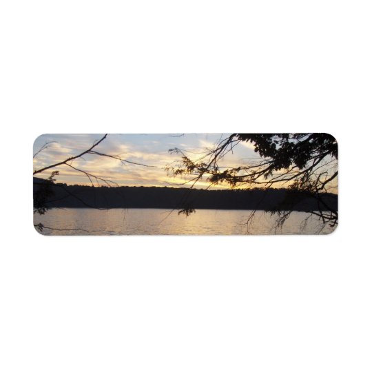 Sunset over lake return address labels