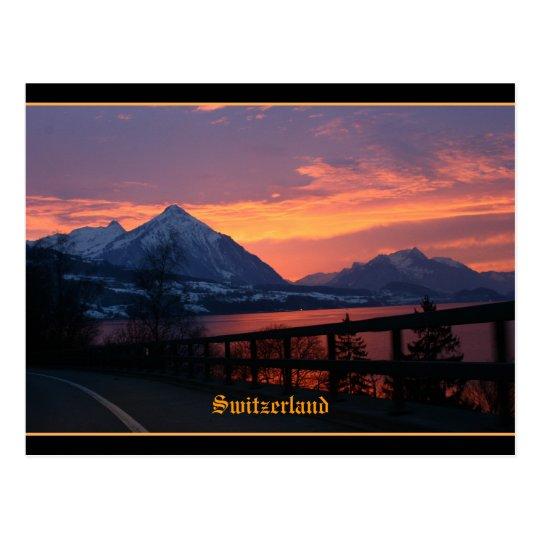 Sunset over lake Thun near Interlaken Switzerland Postcard
