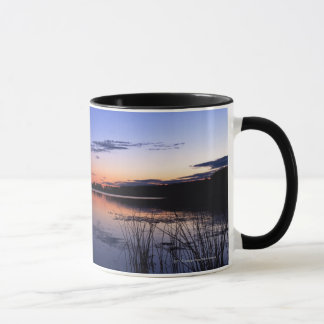 Sunset Over Lake Wabamun With Grass Mug
