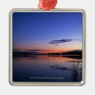 Sunset Over Lake Wabamun With Grass Silver-Colored Square Decoration