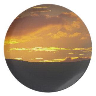 Sunset over Lakeland fells Plate