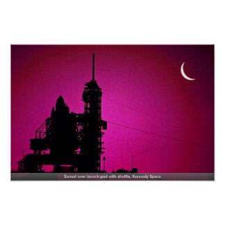 Sunset over launch pad with shuttle, Kennedy Space Poster