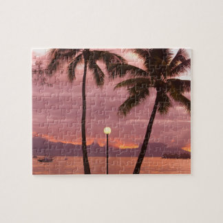 Sunset over Moorea from Sofitel Maeva Beach Jigsaw Puzzle