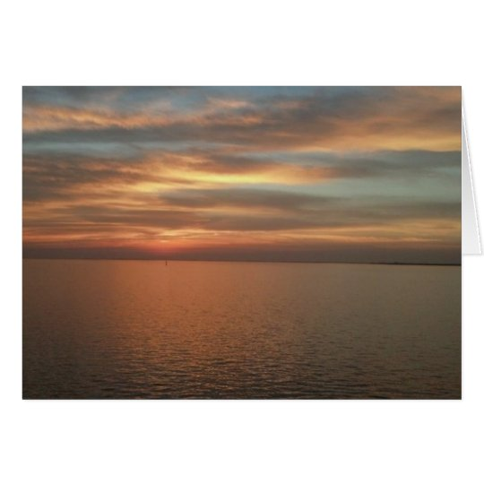Sunset over ocean note card