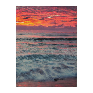 Sunset over ocean waves, California Wood Prints